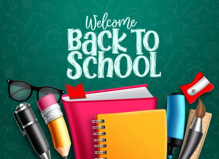 Illustration pour Back to school vector banner. Back to school welcome text with education items, supplies and objects in green pattern background foe educational design. Vector illustration. - image libre de droit