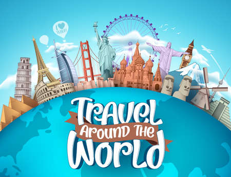 Illustration pour Travel around the world vector tourism design. Travel the world text, famous tourism landmarks and world attractions elements for holiday vacation trip. Vector illustration. - image libre de droit