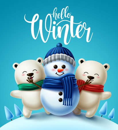 Illustration for Winter characters vector background design. Hello winter greeting text with 3d snowman and polar bear character wearing scarf for winter holiday season. Vector illustration - Royalty Free Image