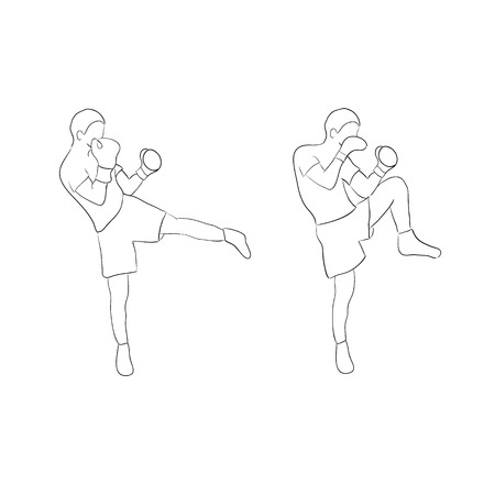 Two boxers doodle isolated on white background