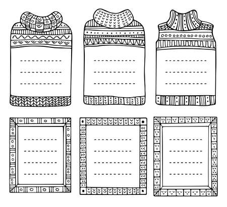Illustration pour Set of hand-drawn winter knitted frames in the shapes of jumpers and rectangular. Doodle black borders for bullet journal, notebook, diary, and invitations. Christmas elements isolated on a white. - image libre de droit