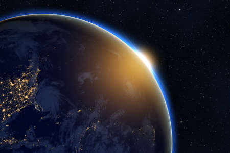 Photo for Rising sun over planet Earth against dark starry sky background - Royalty Free Image