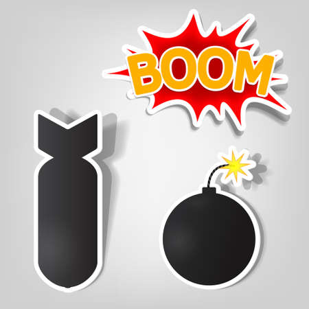 vector bomb and rocket stickers