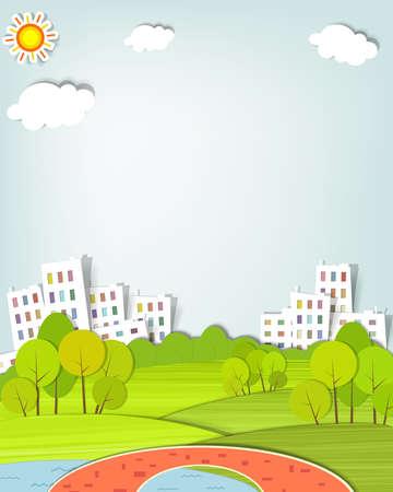Illustration pour urban landscape with trees, lake and bridge - image libre de droit