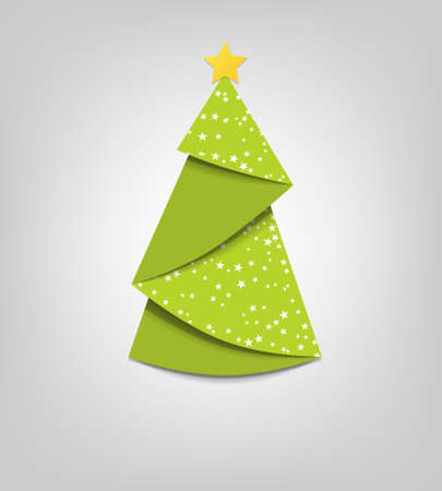 Illustration for Creative Christmas tree card  origami - Royalty Free Image