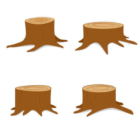 Illustration pour Tree stump set. Vector illustration isolated on white background - image libre de droit