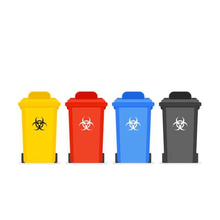 Illustration pour Medical waste bin icon set - image libre de droit