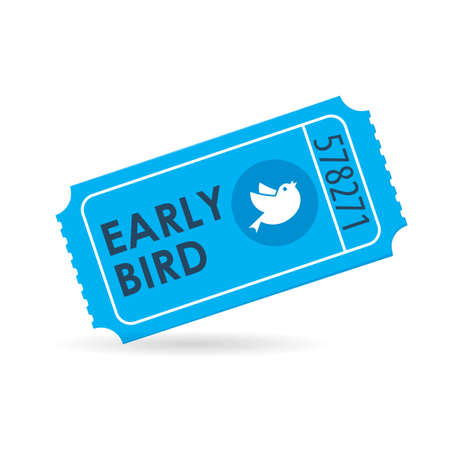 Illustration pour Early bird ticket icon. Discount clipart isolated on white background - image libre de droit
