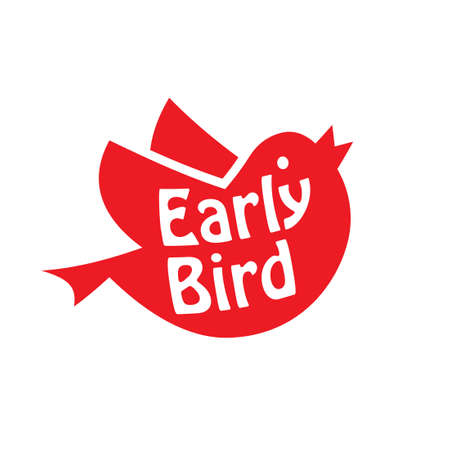 Illustration pour Early bird red icon. Clipart image isolated on white background - image libre de droit