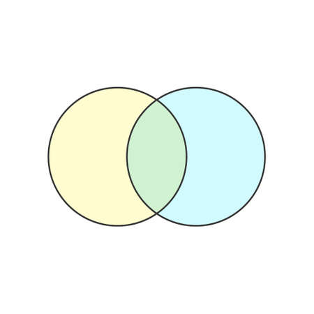 Illustration for 2 Circle Blank Venn diagram icon. Clipart image isolated on white background - Royalty Free Image
