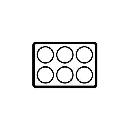 6 Well plate outline icon. Clipart image isolated on white background
