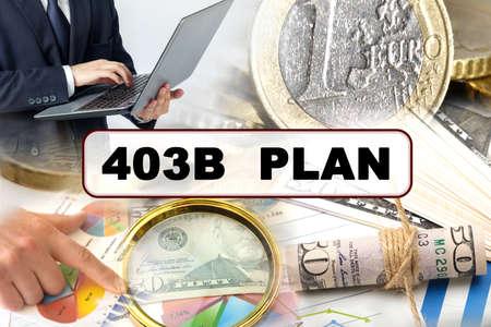 Photo pour Business concept. Photo collage of photographs on financial topics, the inscription in the center - 403B PLAN - image libre de droit
