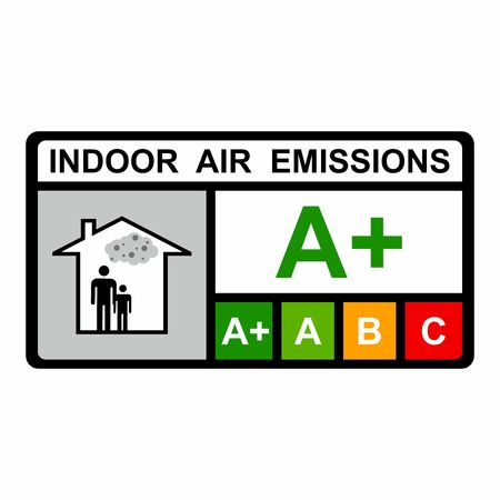 Indoor air emissions vector design isolated on white background