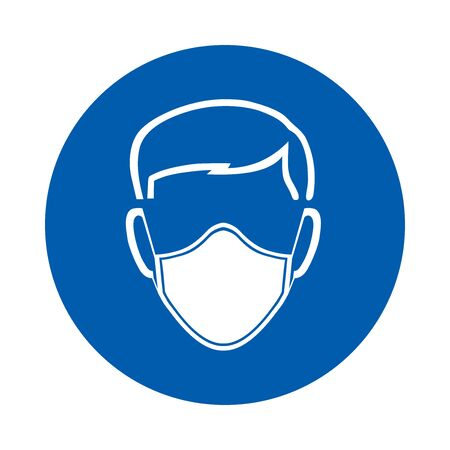 Illustration pour Safety mask must be worn sign or symbol. M016.  Standard ISO 7010.  Vector design isolated on white background . - image libre de droit
