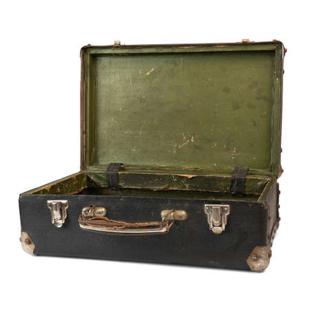 Photo pour Old open suitcase isolated on the white background - image libre de droit