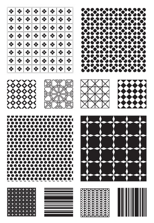 12 Black and White Vector Patterns that tiles seamlessly.