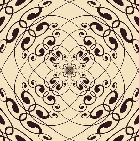 A symmetrical design or pattern of dark ink on a cream colored background
