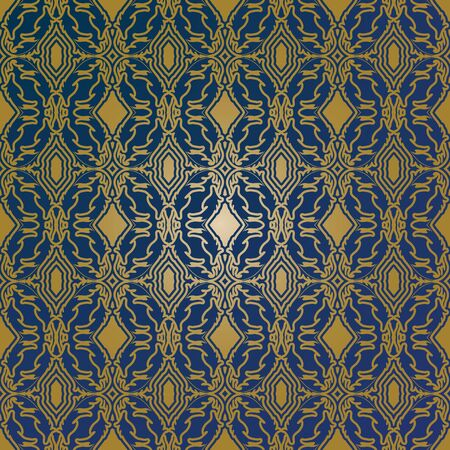 An abstract background created by an artistic, blue on tan, repetitive pattern.