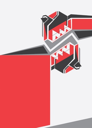 Illustrated abstract red, black and white design.