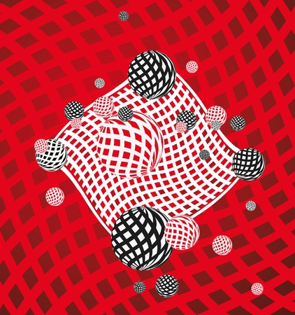 Abstract background with artistic round designs on red, white and black grid pattern