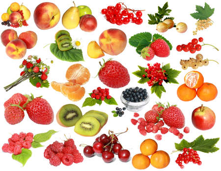 fruit and berries isolated on a white background
