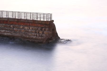 Breakwater in La Jolla, San Diego, long exposure time.