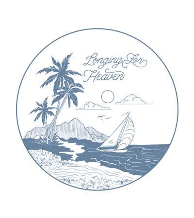 Illustration pour surfing graphic with sunset. T-shirt Printing. - image libre de droit