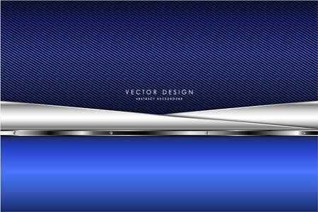 Photo pour Metallic background.Blue and silver with carbon fiber. Navy line dark space metal technology concept. - image libre de droit