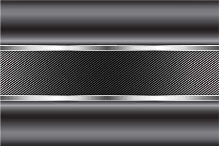 Illustration pour Metallic background.Gray and silver with carbon fiber.Glow line luxury metal technology concept. - image libre de droit