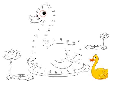 Illustration pour Duck Connect the dots and color - image libre de droit