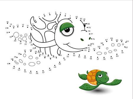 Ilustración de Turtle Cartoon Connect the dots and color page sheet - Imagen libre de derechos