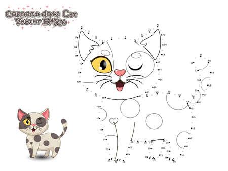 Ilustración de Connect The Dots and Paint Cute Cartoon Cat. Educational Game for Kids. Vector Illustration. - Imagen libre de derechos