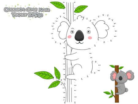 Illustration pour Connect The Dots and Draw Cute Cartoon Koala. Educational Game for Kids. Vector Illustration. - image libre de droit