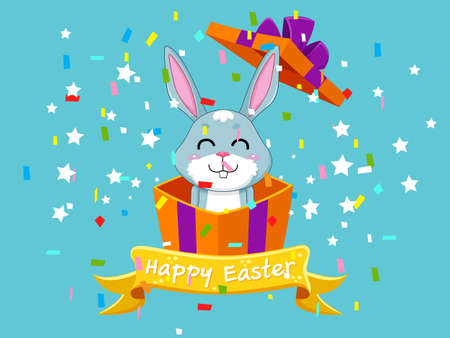 Ilustración de Happy Easter and cute bunny that comes out of the gift box. Vector illustration decorative element on Easter Day - Imagen libre de derechos