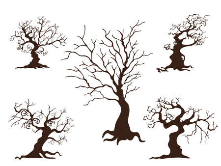 Illustration pour Collection of trees. Concept cartoon tree in different. Halloween elements set. Vector clipart illustration isolated on white background - image libre de droit