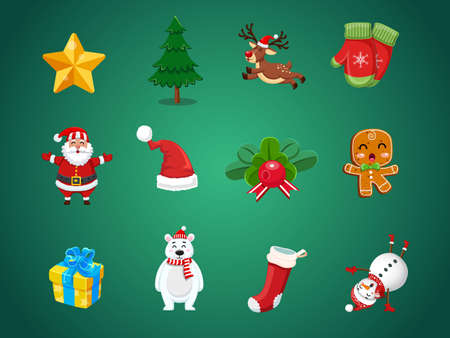 Illustration pour Set of Christmas icons. Celebration event for Merry Christmas and New Year. Vector clipart illustration on color background. - image libre de droit