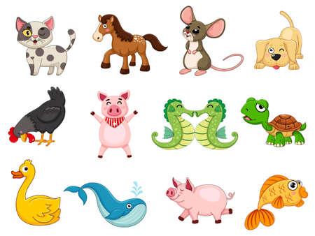 Foto de Cute animals collection animal character. Isolates in cartoon flat style white background. Vector illustration design template. Farm animals, wild animals, water animal - Imagen libre de derechos