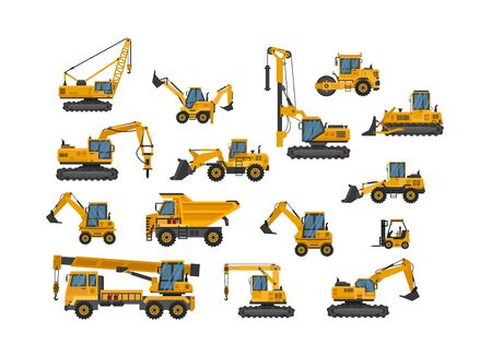 Illustration for Big set of icons construction work. Building machinery.Special machines for the construction work - Royalty Free Image