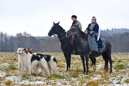 Photo for Minsk region, Belarus - November 5: Historical reconstruction of the traditional hunting with russian borzoi dogs. November 5, 2016, Belarus - Royalty Free Image