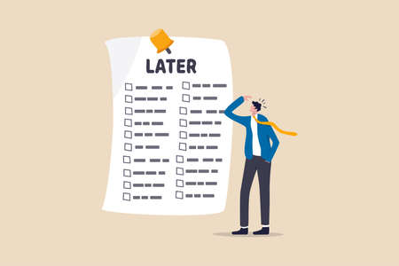 Illustration pour Procrastination, do it later, laziness to postpone every work tasks to later check list concept, frustrated businessman office worker look at long list of later todo list paper note pinned on the wall - image libre de droit