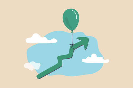 Illustration pour Market rising up, economic growth, high performance profit increase or prosperity concept, balloon tied with rising up green graph flying high in the sky. - image libre de droit