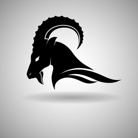 Black Goat Head Vector Design dark outline - vector illustration