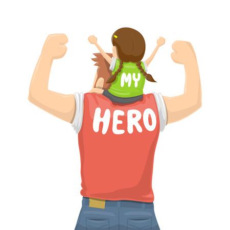 Illustration pour Father's Day - My Father Is a Hero - Vector illustration - image libre de droit
