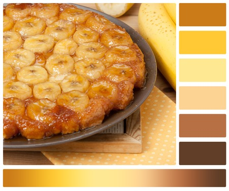 Traditional Homemade Banana Caramel Pie. French Tart Tatin. Palette With Complimentary Colour Swatches