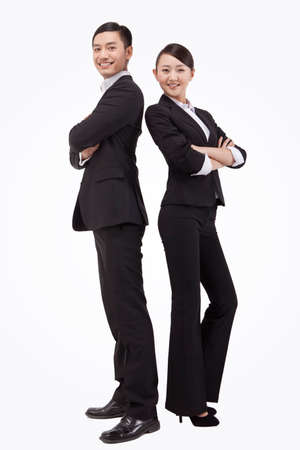Photo pour Young business man and woman portrait - image libre de droit