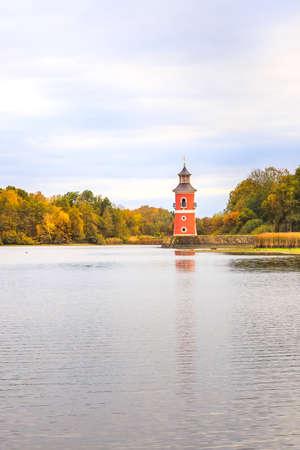 Lighthouse Moritzburg at the lake lower Gro? ¸ pond