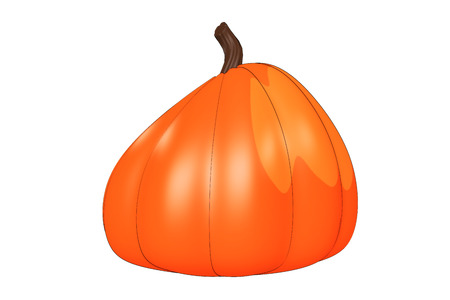 Illustrated pumpkin design element isolated on a white background.