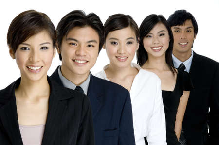 A group of young attractive businesswomen and men on white background