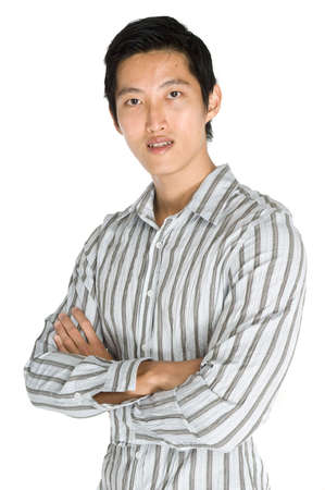 A young man in shirt on white background
