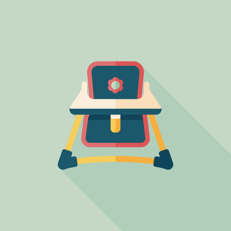 Baby High Chair Flat Icon With Long Shadow Eps10 Royalty Free